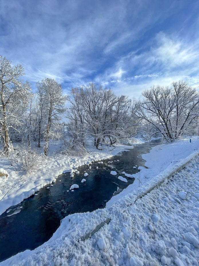 The Big Thompson River after a severe snowstorm rolled through Loveland, Colorado dumping 32 inches of snow over night.