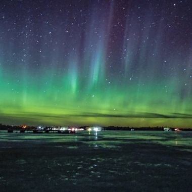 Amazing night of Aurora chasing on Rainy Lake,. Right on the Canadian border in northern Minnesota
