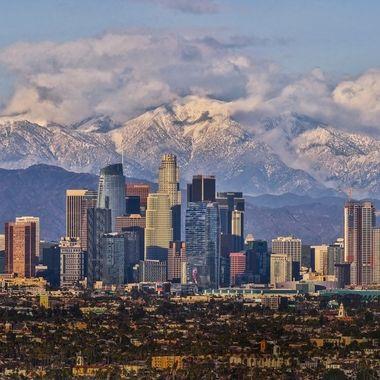 LA downtown with snow mountain DSC02985