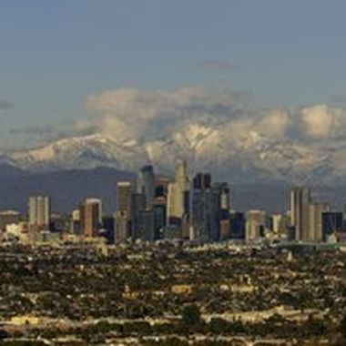 This is a panoramic view of LA downtown with the snow capped Mount Baldy in the background.  The weather system came through the south land during the day and it started to clear up in the afternoon.  I started driving for one hour to the west side through heavy traffic just in time to see the clear view of the mountain and downtown LA.  Few minutes after this, the cloud above the San Gabriel mountains on the left started to cover Mount Baldy again.  This photo is a composite of 11 portrait shots (merged in Lightroom) using the Canon 300 mm f/2.8 II lens mounted on a Sony A9.