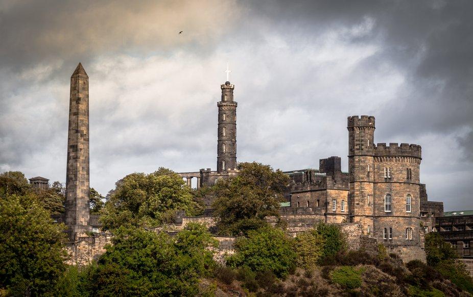 Edinburgh view on Calton hill, Nelson Monument, St. Andrews house, Obelisk Martyr's Monument