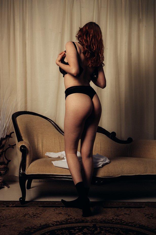 #lingerie #blacklingerie #model #blackfingernails #whiteshirt #chaiselounge #mood #redhair