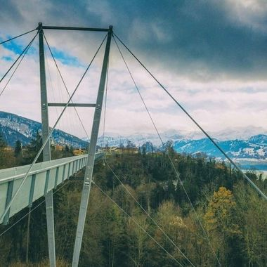 The suspension bridge at Sigriswil offers spectacular views of Lake Thun and the Swiss Alps
