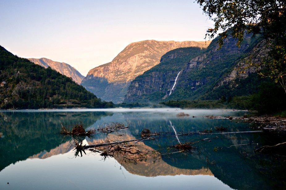 It is a photo taken in Norway, far into the worlds longest habitat fjord