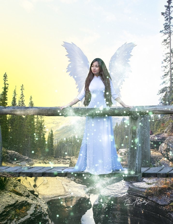 Model/Actress Vivian Huynh poses for a composite image about an Angel.