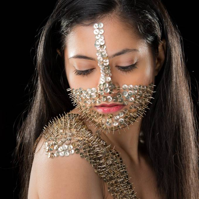 Body armour shoot with thumbtacks. Model: Rittika / @ritts_14