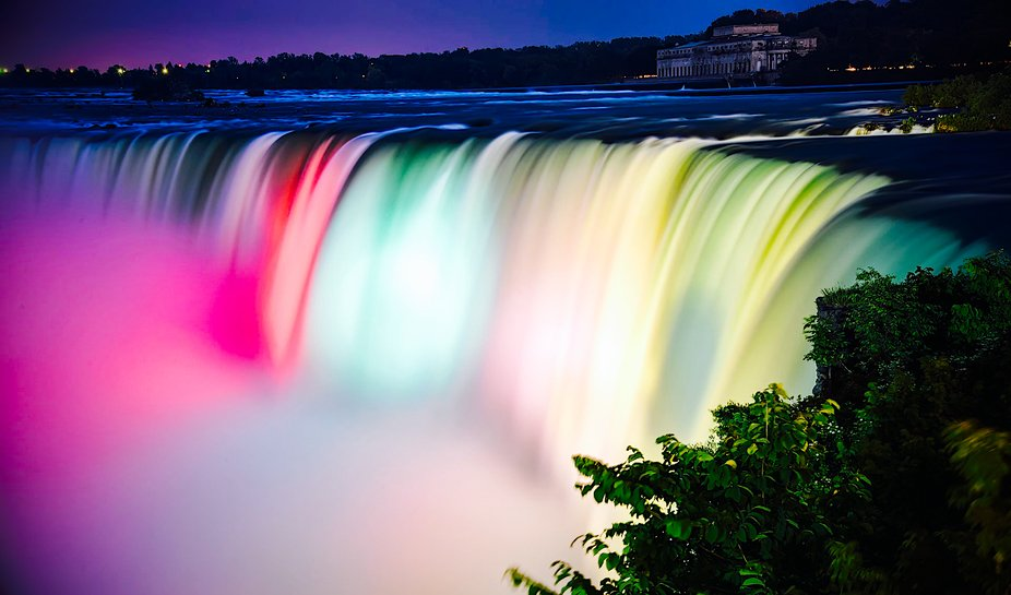 Magnificent Niagara Falls, at night all colors come alive , Canada