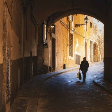 Street scene from Florence, Italy. Captured by the famous bridge.