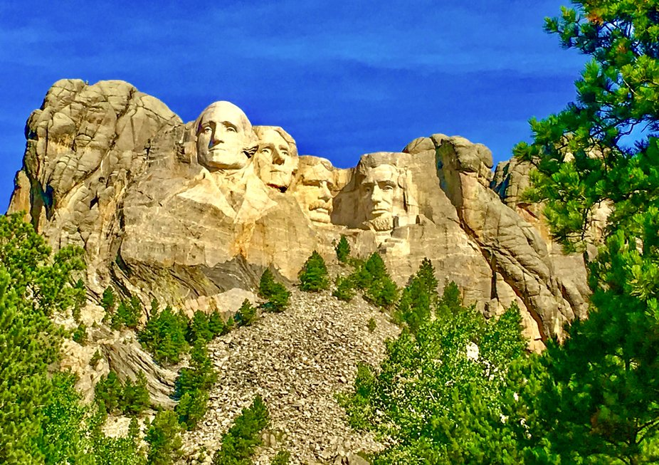 Mount Rushmore in the spring