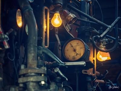 dashboard on a steam locomotive