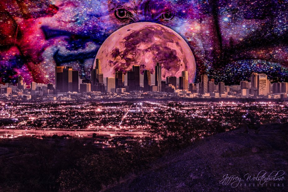 Composite •Foreground: City of Tucson •City Sky Line: Los Angeles •Moon: Almost Full Moon S...