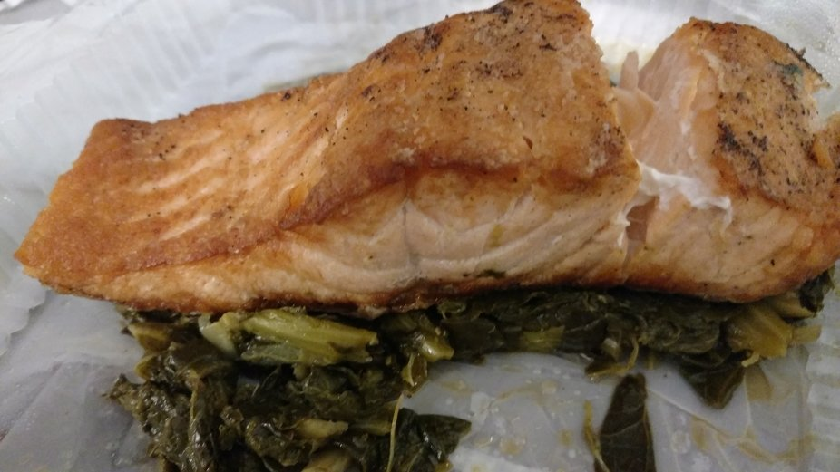 Delicious salmon and collard greens dinner.