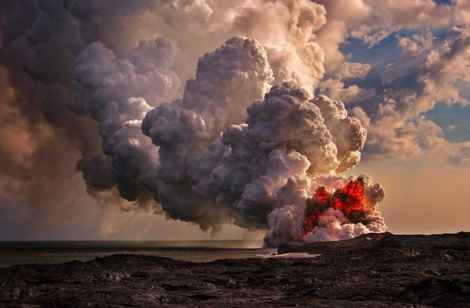 Sunset Volcanic Eruption at Kalapana. by PreissAlex - Creative Landscapes Photo Contest vol9