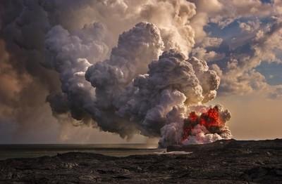 Sunset Volcanic Eruption at Kalapana.