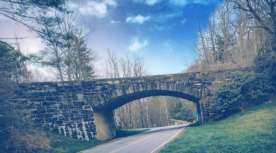 The Blue Ridge Parkway entrance bridge