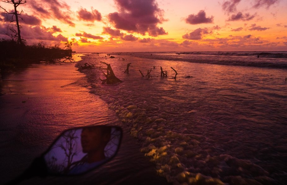 How is the feeling of driving in the dawn time in Kuakata beach? This photograph tells everything...