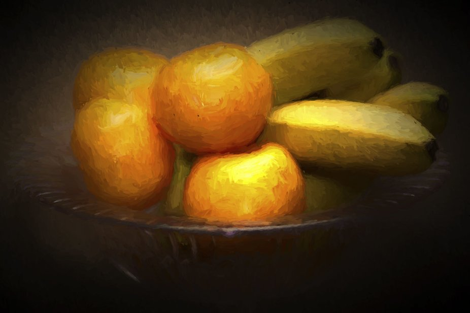 Mandarins and Bananas Chiaroscuro