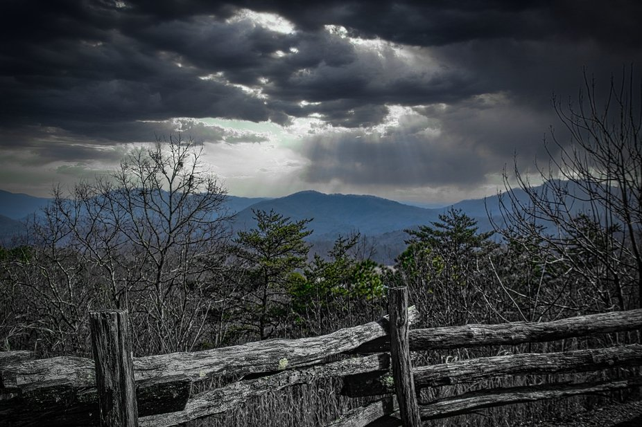 An overlook in the Smokey Mountains near Bryson City, NC