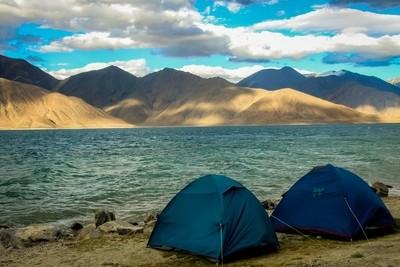 Two tents set up at the Pangong lake