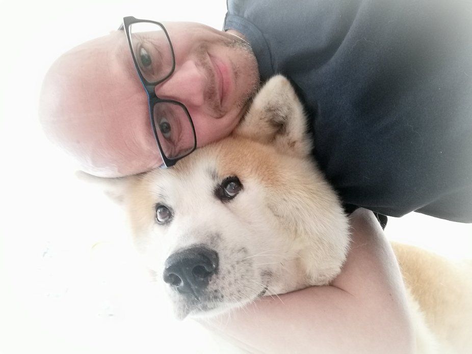 Picture of my husband and my beautiful Akita dog Jinsei (means Life in japanese) who passed away ...