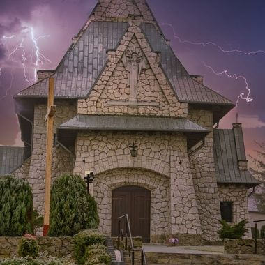 Church in Poland in stormy weather