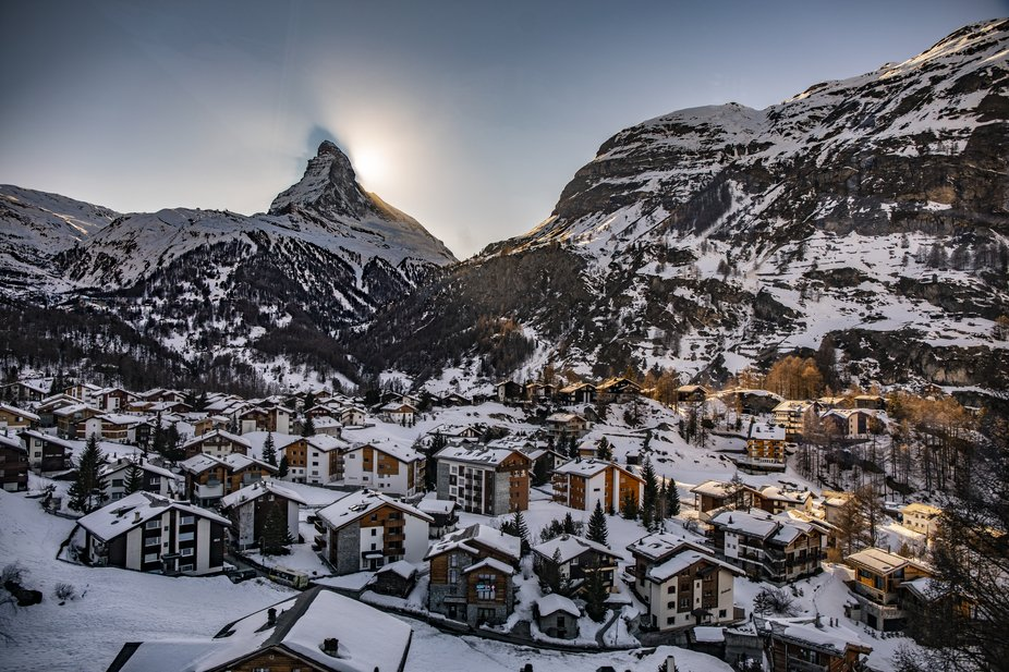 A view of the town of Zermatt in Switzerland with the backdrop of the Matterhorn during the late ...