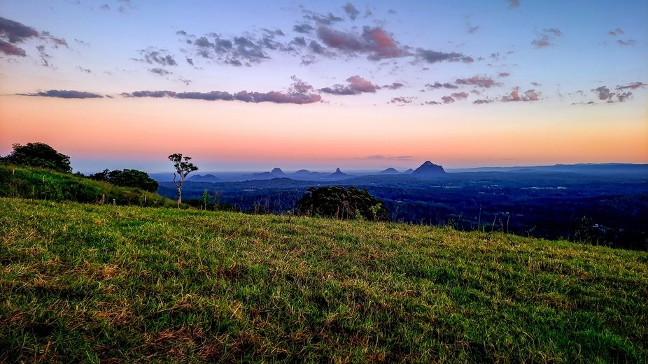 Glasshouse Mountains viewd from One Tree Hill