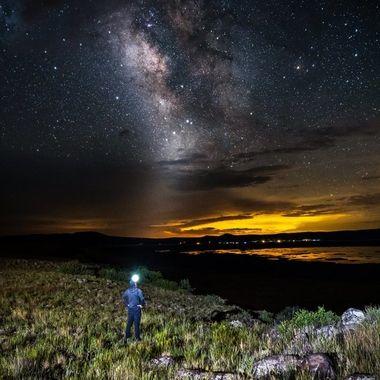 Single exposure self portrait outside of Flagstaff, Arizona. Foreground lit with a single strobe