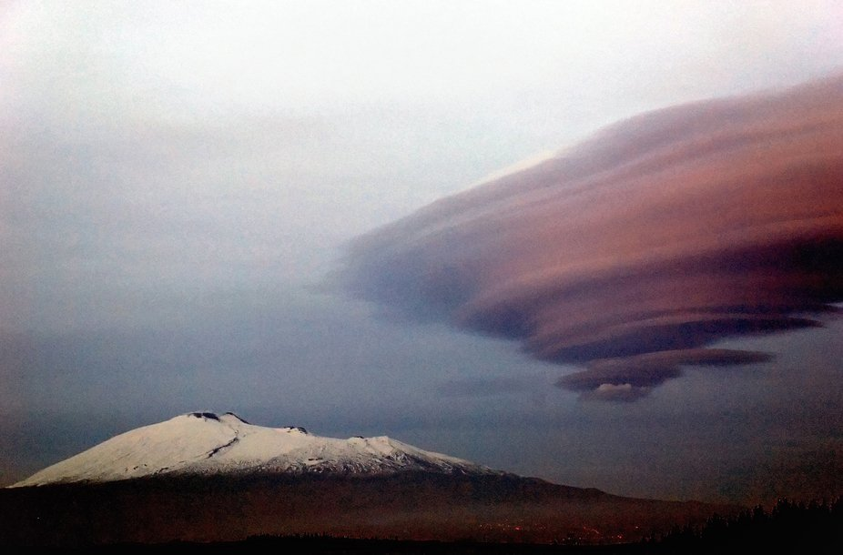 Etna volcano after the sunset