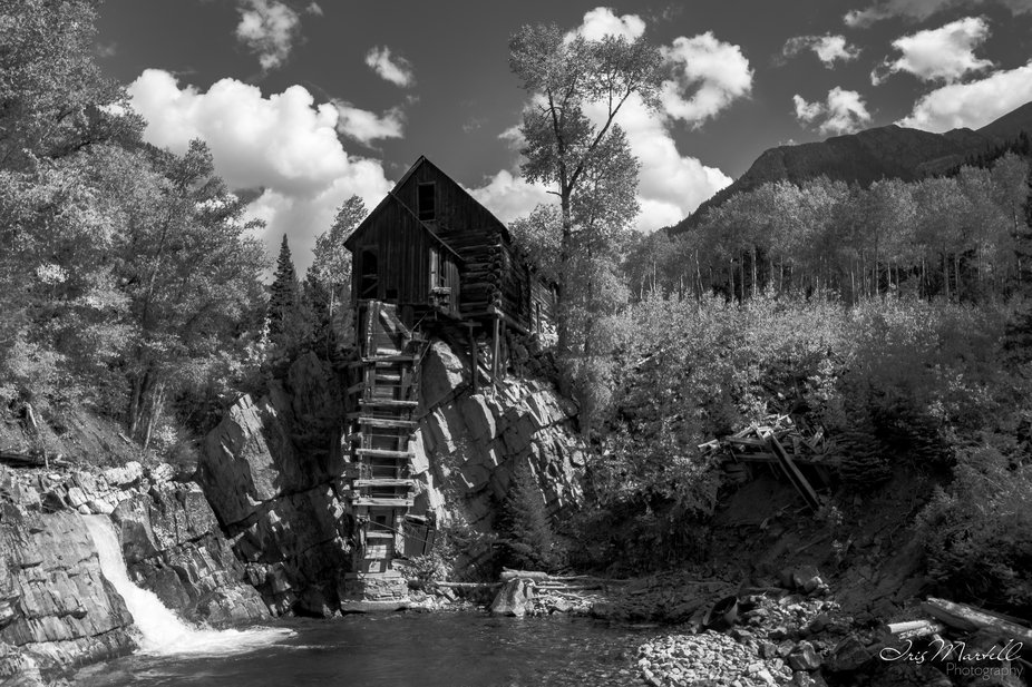 The Crystal Mill, or the Old Mill is an 1892 wooden powerhouse located on an outcrop above the Crystal River in Crystal, Colorado, United States. It is accessible from Marble, Colorado via 4x4. Although called a Watermill, it is more correctly denoted as a compressor station, which used a water turbine to drive an air compressor, and was originally built with a horizontal wheel. The compressed air was then used to power other machinery or tools.