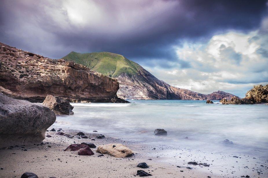 A delightful beach cove in the East coast of Porto Santo, Portugal