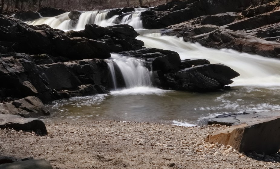 This is a popular waterfall to watch the fish jump.  Rainbow trout migrate every year up this wat...