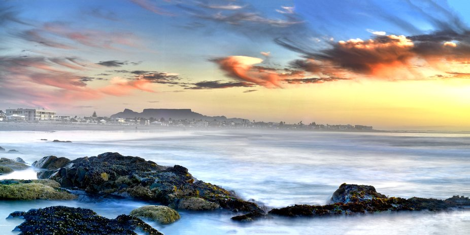 a View of Table Mountain, Cape Town, South Africa, From the West Coast Town of Melkbosstrand