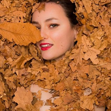 Portrait of Marie in autumn leaves
