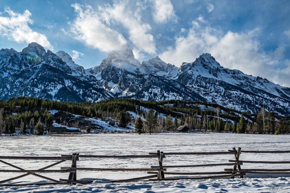 Middle Teton, Grand Teton,& Mt Owen the three Tetons