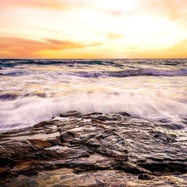 Long exposure capture of the sunset over the tide pools at Crystal Cove State Beach
