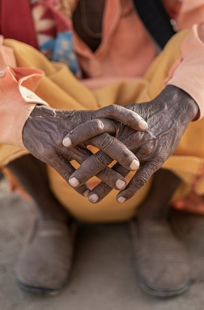 Struggling hands with a lot of experience and story, signifies the battle between of life for existence