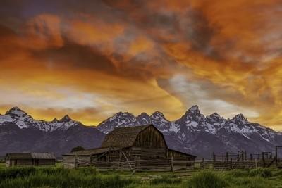 Firey Sunset John Moulton Barn