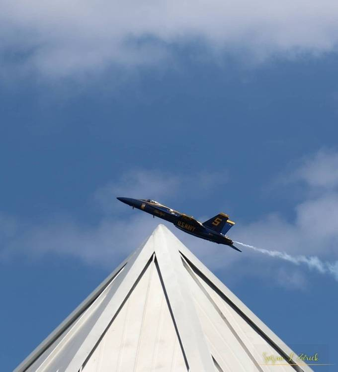 Like he is sitting on the roof. Navy Blue Angel, Ft Lauderdale Airshow 2021
