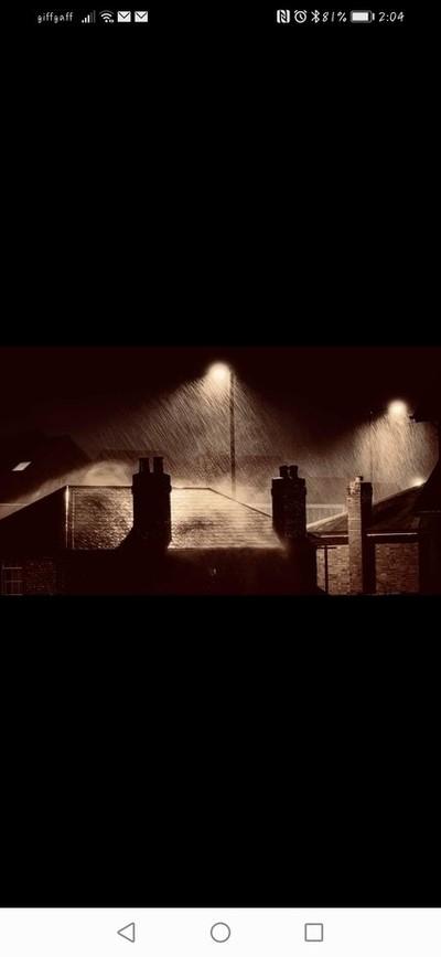 Rainy roof tops at night
