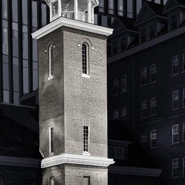 Black & White Brick tower & Cupola toned  Sepia & Shadows toned blue