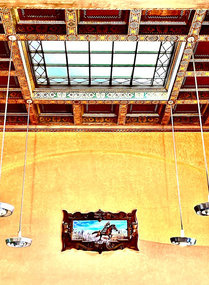 Ceiling and wall of the Pampa Texas post office built in 1930.