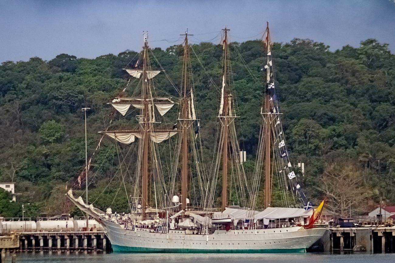 I believe this is a danish navy training ship, docked near the Pacific end of the Panama Canal.