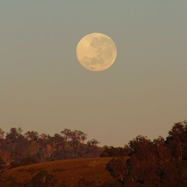 Moon over the valley, after the lunar eclipse