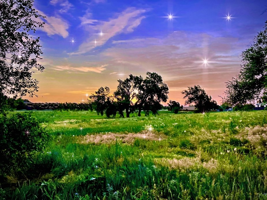 A starlight landscape in the Texas panhandle.