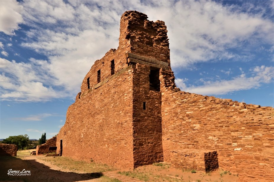 Spanish and Pueblo craftsmen built this complex around 1630.  The ABO' ruins are part of...