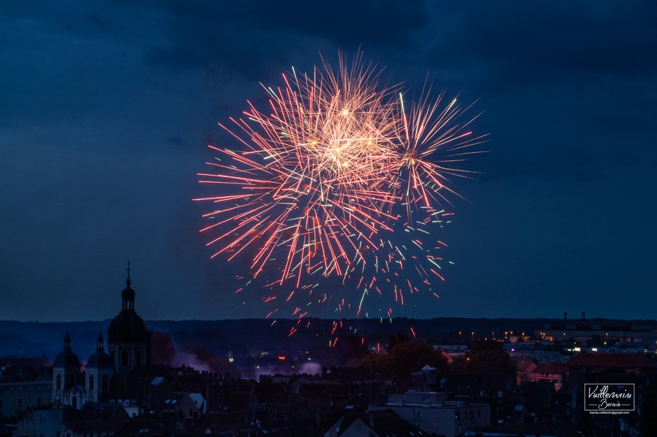 Fireworks in the sky of chalon sur saone