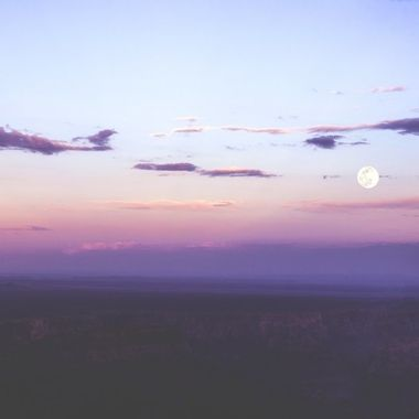 Sunset Grand Canyon and full moon