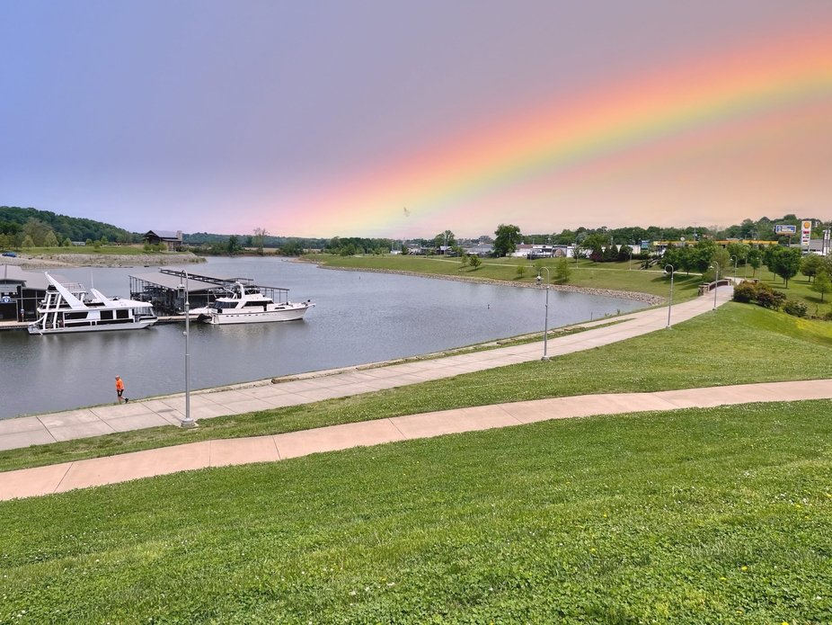 A rainbow on the Cumberland River in Tennessee