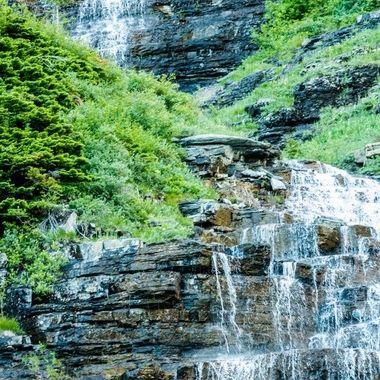 Waterfalls at glacier national park, MT